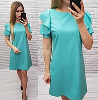 Платье с рюшами на плече арт. 783 бирюзовое / мята / мятное / бирюза, фото 1