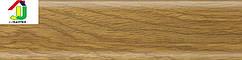Плинтус пластиковый Salag 37 дуб аляска, плинтус с мягкими краями, плинтус напольный с кабель каналом.