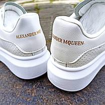 Кроссовки ALEXANDER MCQUEEN |копия| белые размеры 36-41 на толстой подошве высокие эко кожаные перфорация, фото 3