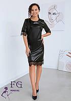 Платье кожаное с кружевом В 028