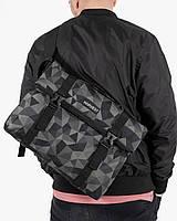 """Мужская сумка мессенджер """"ROLL"""" геометрия, синие-серый, на 9л, сумка для ноутбука, повседневный, спортивный"""
