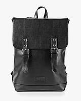 """Прочный мужской рюкзак """"Edgy"""" черный, на 20л, сумка для ноутбука, повседневный, спортивный, экокожа"""