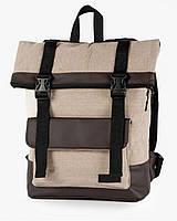 """Прочный мужской рюкзак """"ROLL"""" лён, на 19л, сумка для ноутбука, спортивный, для путешествий, повседневный"""