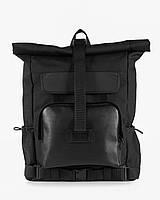 """Прочный городской мужской рюкзак """"WIDE 2"""" ,спортивний роллтоп для путешествий, для ноутбука на 29л, Чёрный"""