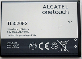 Аккумулятор (Батарея) для Alcatel 7040N One Touch TLi020F2 (2000 mAh) Оригинал