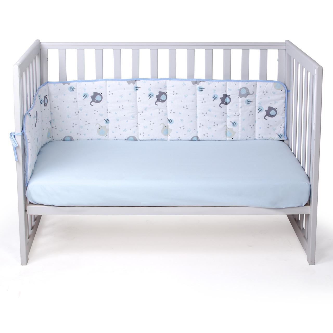 Защита в кроватку сплошная Veres Elephant blue 185*32 см