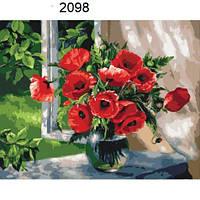 Картины по номерам Маки на подоконнике (КНО2098) раскраска по цифрам ТМ Идейка