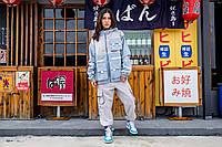 Женская куртка-ветровка Skatepark (Скейтпарк), голубая, код FL-101