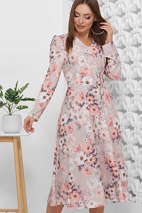 Платье-миди  женственное с юбкой-полусолнце длинный рукав супер софт, фото 2