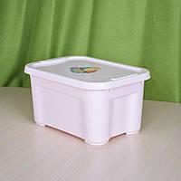 Ящик для хранения вещей и детских игрушек розовый. Объем контейнера 5 л с крышкой.