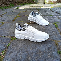 Женские белые кроссовки сетка слипоны мокасины легкие летние дышащие перфорация на шнурках