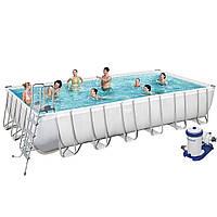Каркасный бассейн Bestway 56474, 732 х 366 х 132 см (9 463 л/ч, дозатор, лестница, тент, подстилка)
