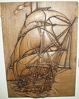 Резная картина (Фрегат), размер 290х405, доставка по Украине
