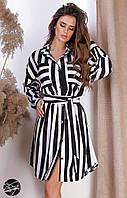 Легкое платье-рубашка черно-белого цвета с принтом в полоску. Модель 24584. Размеры 42-56 46/48