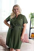 Платье рубашка большие размеры хаки