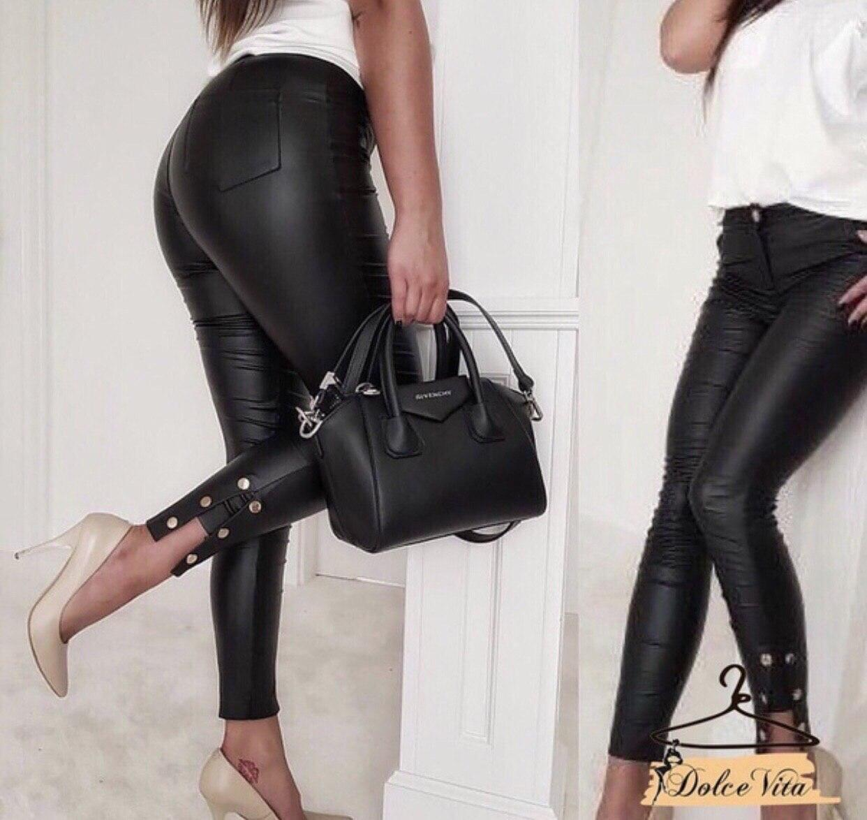 Женские кожаные лосины с имитацией кнопок внизу tez2212420