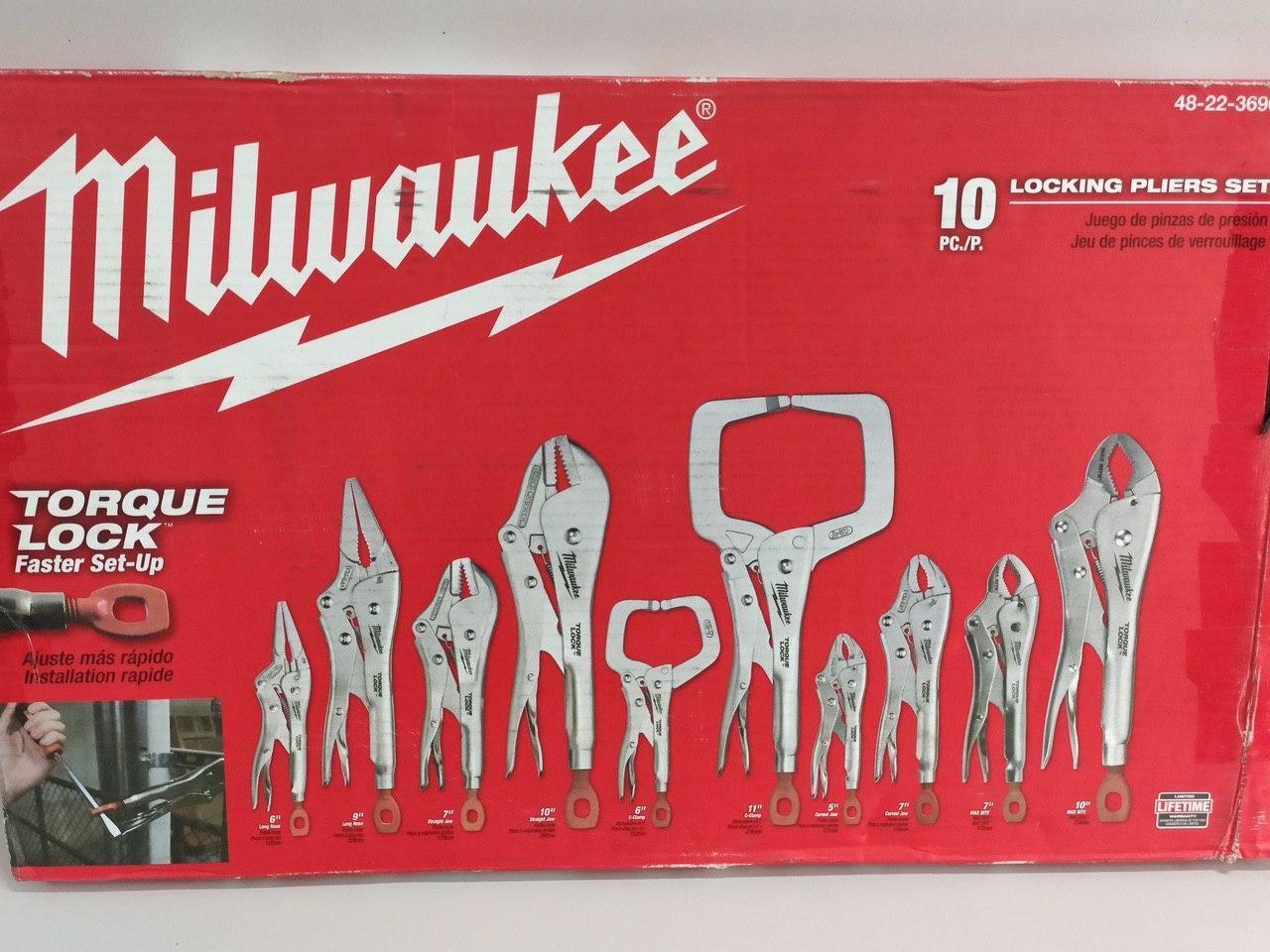 Набор инструментов Milwaukee locking pliers set 10ps 48-22-3690  набор клещей 10 штук
