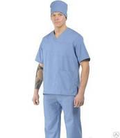 Костюм хирурга тк.сорочечная серо-голубой.Костюм медецинский