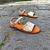 Шльопанці босоніжки на застібці сандалі на плоскій підошві літні руді коричневі, бежеві, фото 6