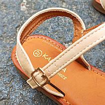 Шльопанці босоніжки на застібці сандалі на плоскій підошві літні руді коричневі, бежеві, фото 2