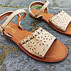 Шльопанці босоніжки на застібці сандалі на плоскій підошві літні руді коричневі, бежеві, фото 3
