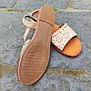 Шльопанці босоніжки на застібці сандалі на плоскій підошві літні руді коричневі, бежеві, фото 4