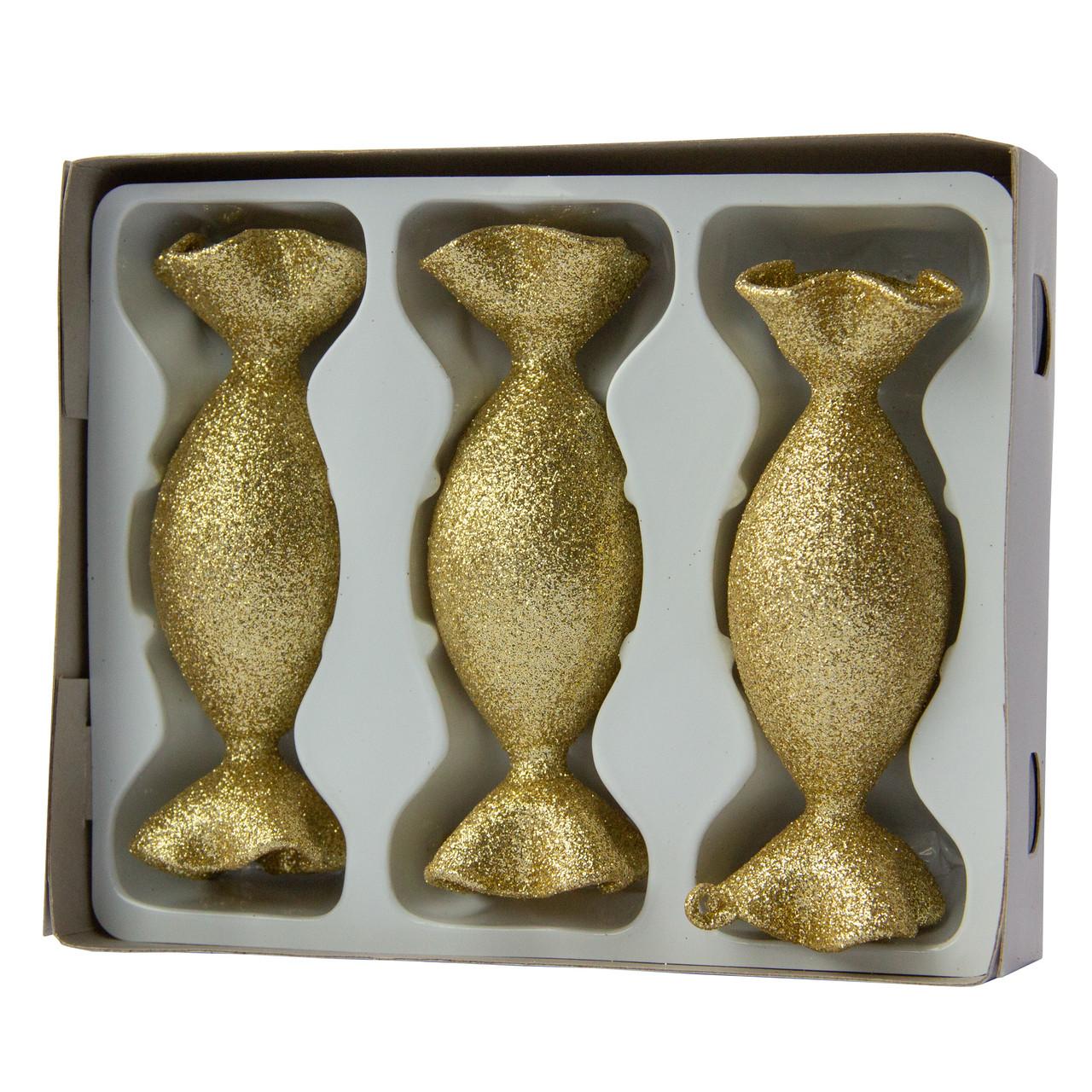 Набор елочных игрушек-конфет 35/100*3 шт., стекло, золото, присыпка (390151-13)