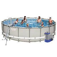 Каркасный бассейн Bestway 56427, 549 x 132 cм (5 678 л/ч, дозатор, лестница, тент, подстилка)