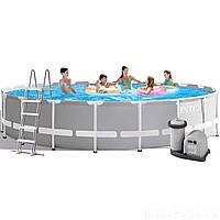 Каркасный бассейн Intex 26756, 610 х 132 см (5 678 л/ч, лестница, тент, подстилка)