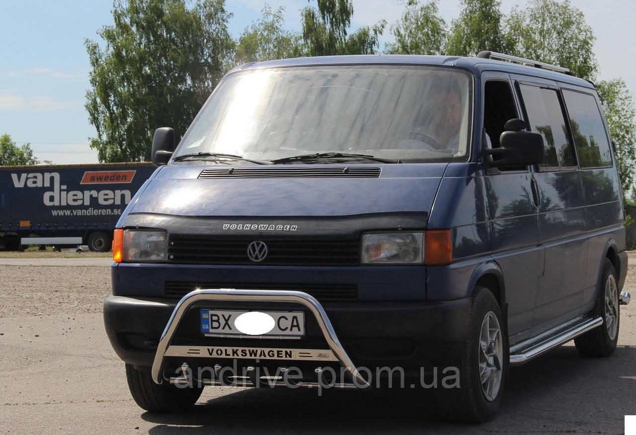 Кенгурятник с лого (защита переднего бампера) Volkswagen T4 (Transporter) 1990-2003