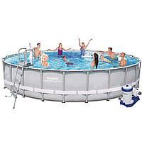 Каркасный бассейн Bestway 56705, 671 х 132 см (9 463 л/ч, дозатор, лестница, подстилка, тент)