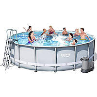 Каркасный бассейн Bestway 56451, 488 x 122 cм (5 678 л/ч, дозатор, лестница, тент, подстилка)