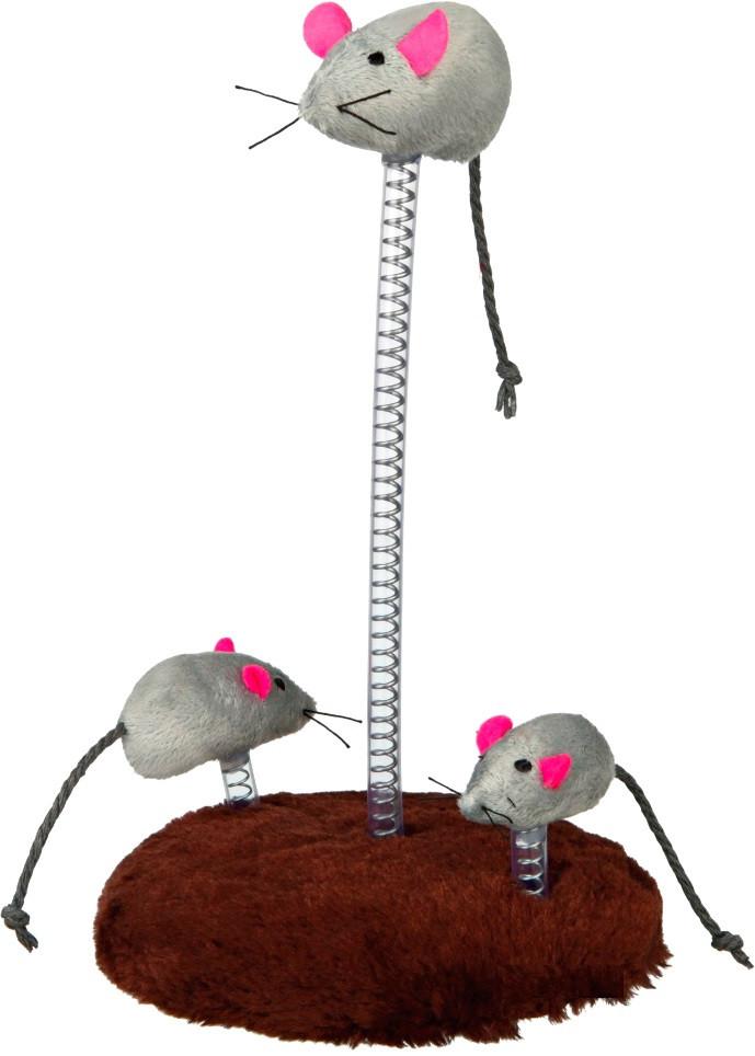 Игрушки для котов и котят мышиная семейка на пружине, Trixie, 30 см
