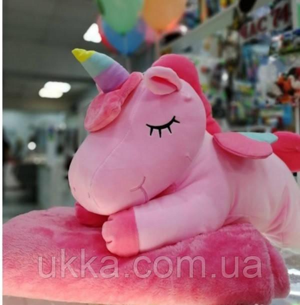 Игрушка плед подушка Единорожка розовая