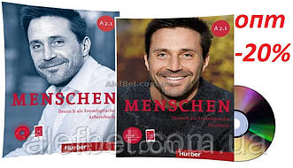Немецкий язык / Menschen / Kursbuch+Arbeitsbuch. Учебник+Тетрадь (комплект с дисками), A2.1 / Hueber