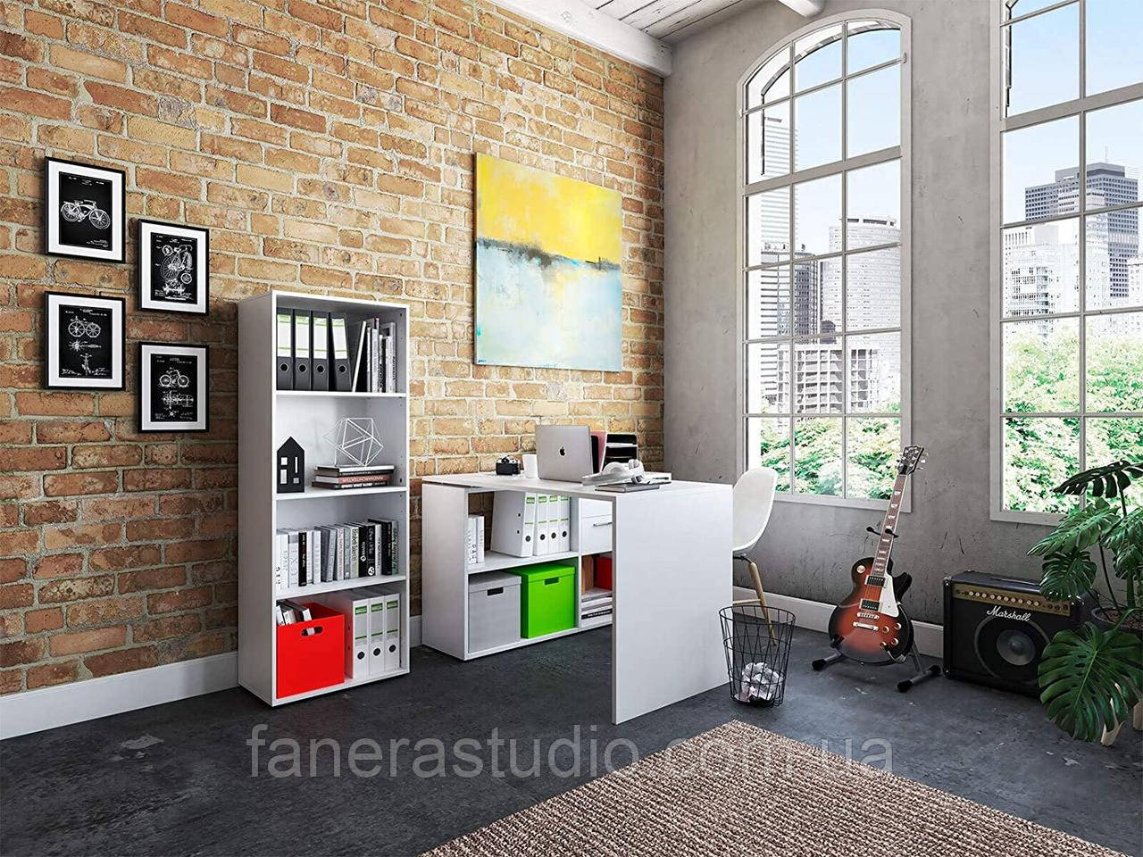 Полиця для книг, стелаж для дому з задньою стінкою на чотири полиці, що регулюються по висоті