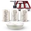 Керамический набор для ванной комнаты S&T, белый с цветочным орнаментом, фото 2