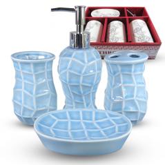 Керамічний блакитний набір для ванної кімнати S&T