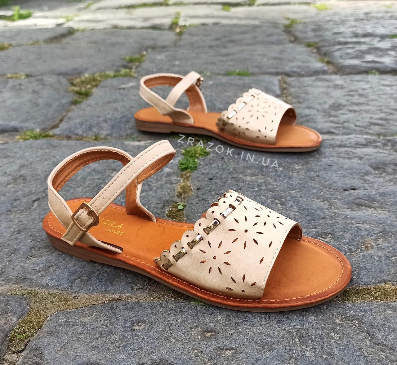 Шльопанці босоніжки на застібці сандалі на плоскій підошві літні руді коричневі, бежеві