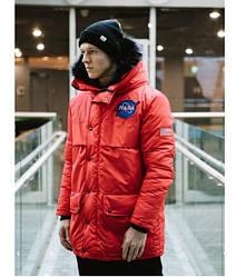 Зимняя мужская куртка NASA, красная размер M (22101)
