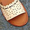 Сандалии Шлепки босоножки на застежке на плоской подошве летние рыжие коричневые бежевые, фото 3