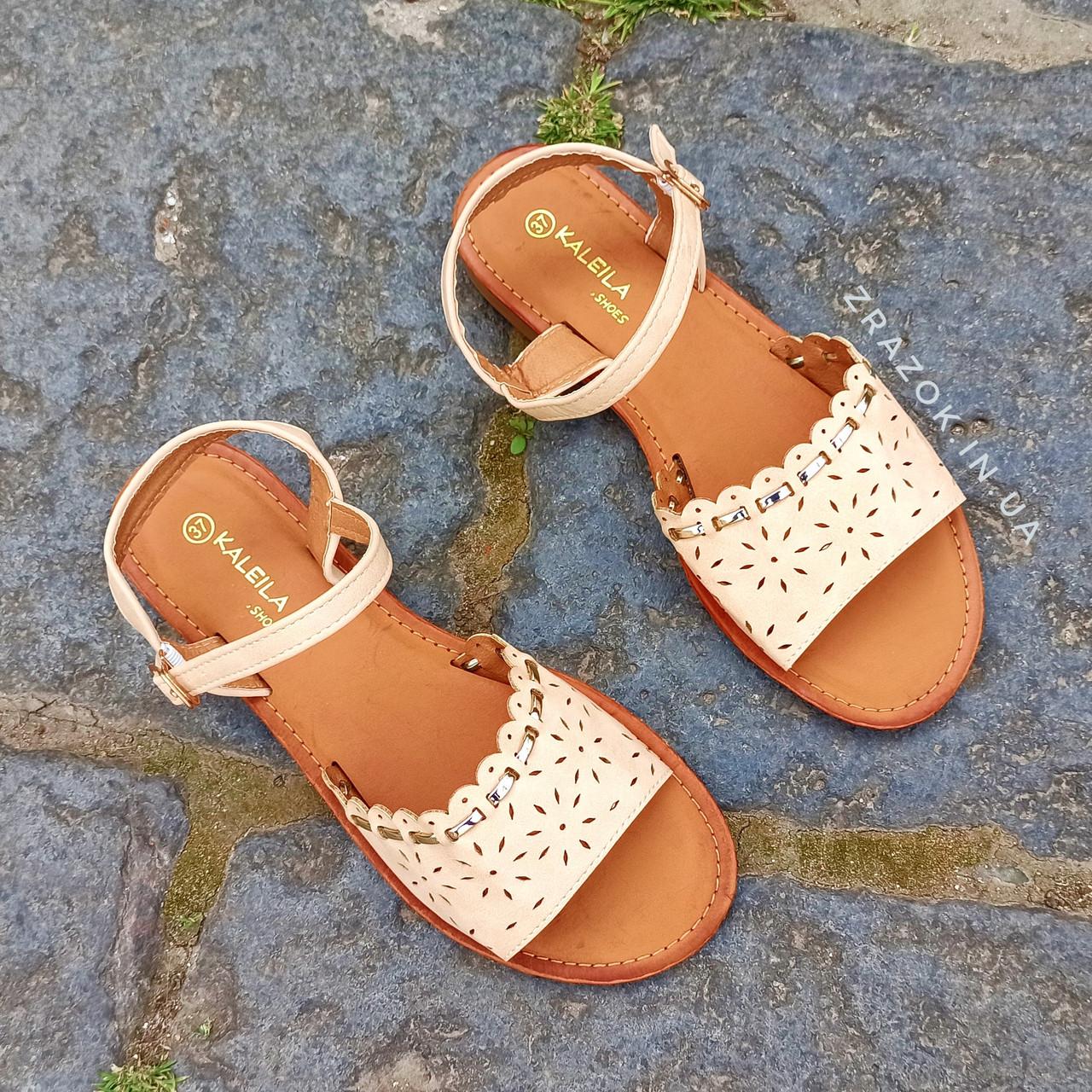 Сандалии Шлепки босоножки на застежке на плоской подошве летние рыжие коричневые бежевые