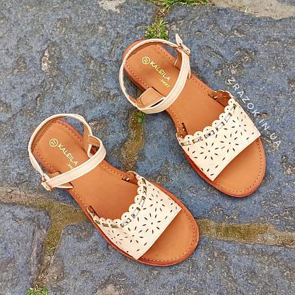 Сандалии Шлепки босоножки на застежке на плоской подошве летние рыжие коричневые бежевые, фото 2