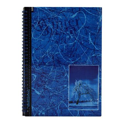Книга амбарна А4, тверда ламінована обкладинка, 80 аркушів, пружина, вибірковий лак, клітинка, фото 2