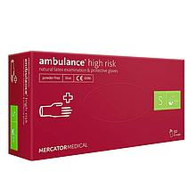 Рукавички AMBULANCE High Risk, латексні оглядові, нестерильні, неприпудрені, розмір S, 50шт