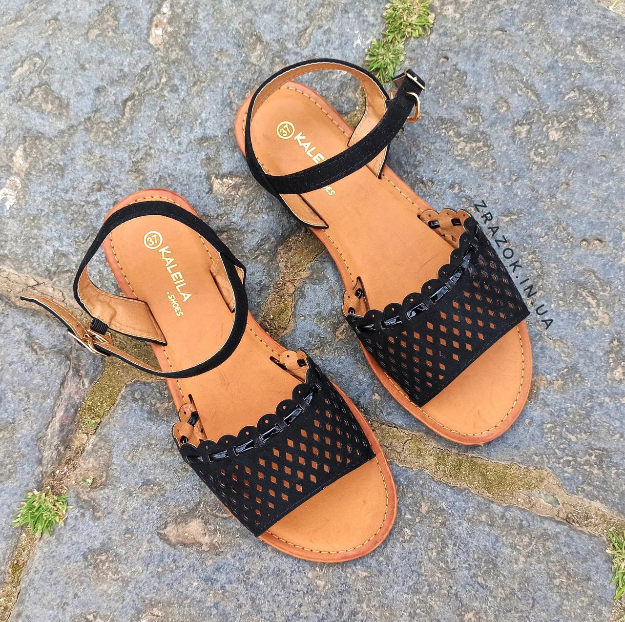 Сандалі Шльопанці босоніжки на застібці на плоскій підошві літні руді коричневі, чорні з візерунком