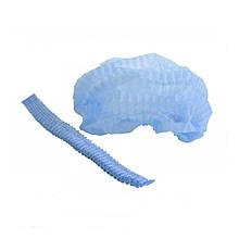 Шапочки одноразові кульбаба, блакитні, (1уп./100шт), 3хШапочка з 2 рез.