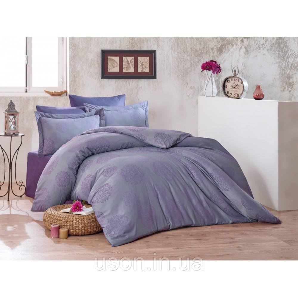 Комплект  постельного белья  жаккард ТМ Nazenin евро размер Lavida mor