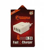 "Сетевое зарядное устройство ""KeKe QC-04"" 4USB Port 6.2A"