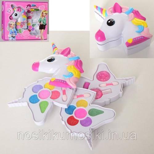 Игровой набор детской косметики Единорог - тени, румяна, лак для ногтей, помада